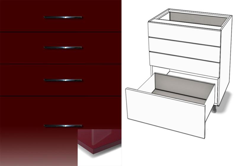 unterschrank 4 schubladen metalbox softclosing hochglanz. Black Bedroom Furniture Sets. Home Design Ideas