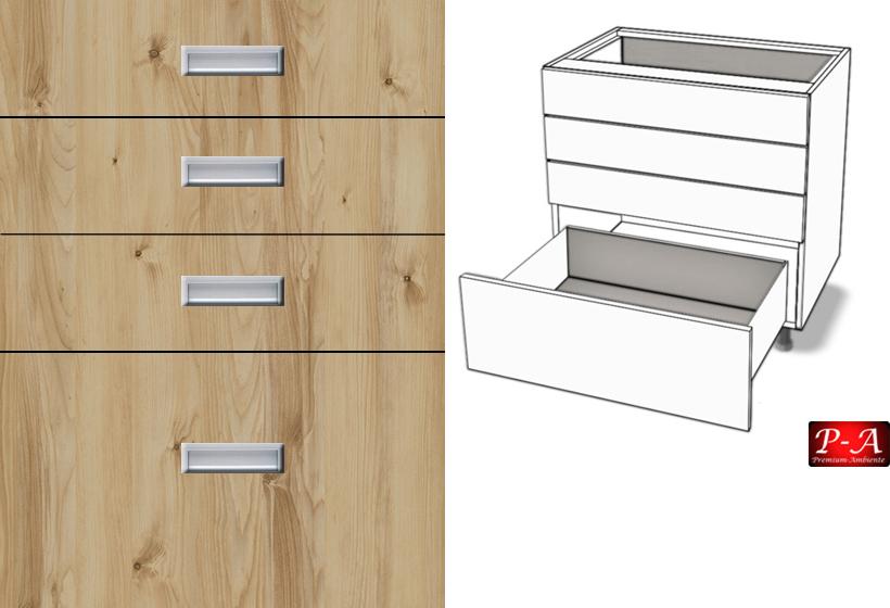 unterschrank 4 schubladen vollauszug softclosing tandembox antaro eingelassener griff bis 90cm. Black Bedroom Furniture Sets. Home Design Ideas
