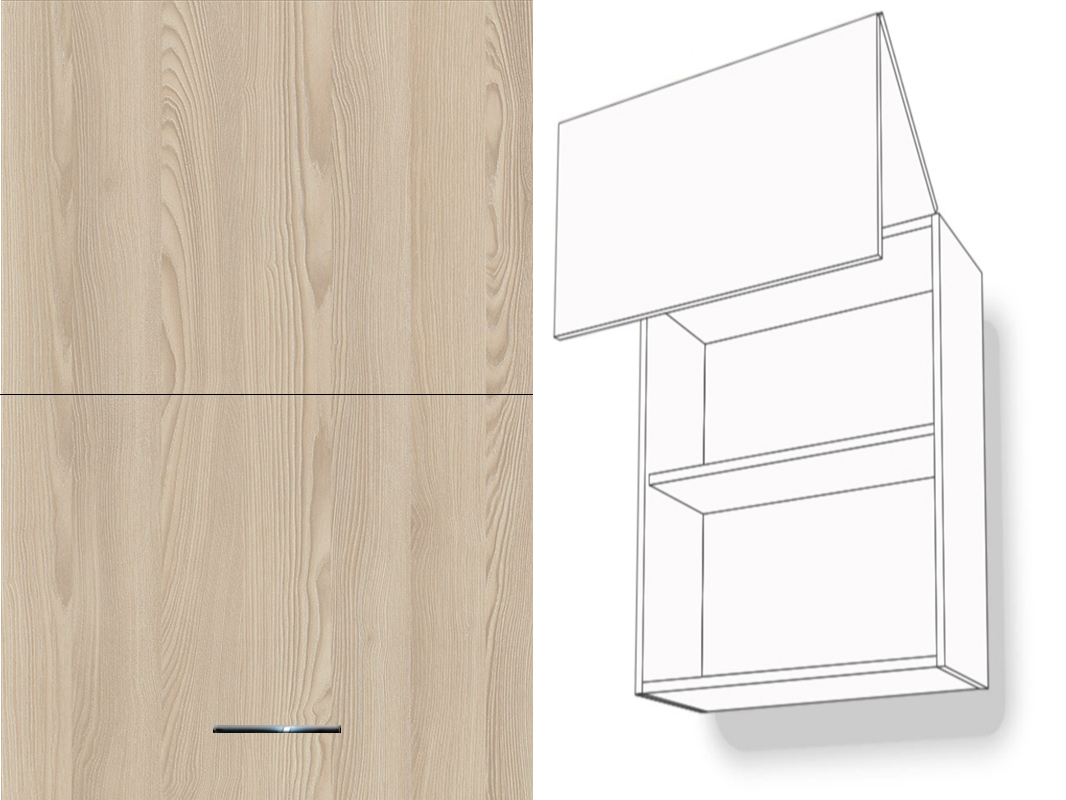 h ngeschrank hochfaltklappe 1 fachboden 72cm hoch aventos hf montageschiene inklusive. Black Bedroom Furniture Sets. Home Design Ideas